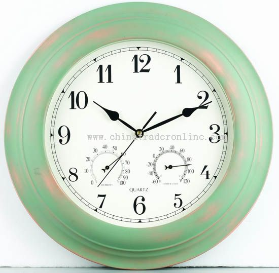16inch Metal wall clock with temperature & humidity display