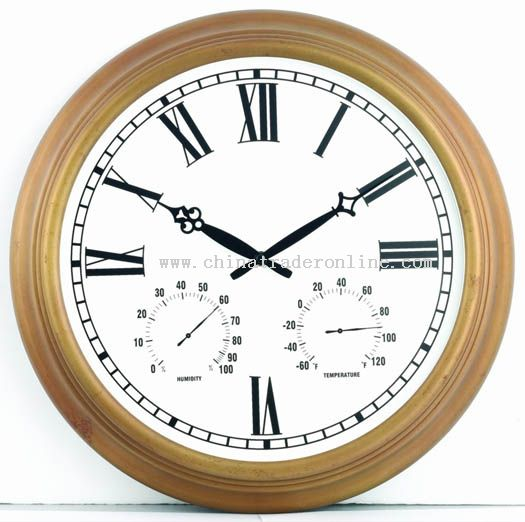 18inch Metal wall clock with temperature & humidity display
