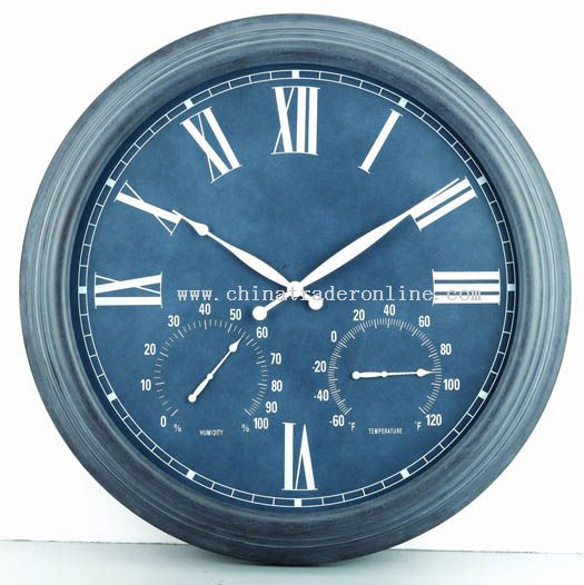 23inch metal wall clock with temperature & humidity display