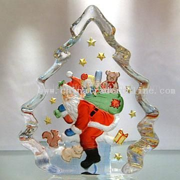 Christmas Santa Claus 2D Mould Painted Crystal from China