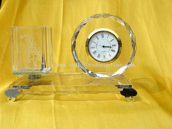 Crystal Pen holder with Clock Office Supplies