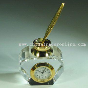 Crystal Ink Pot Clock