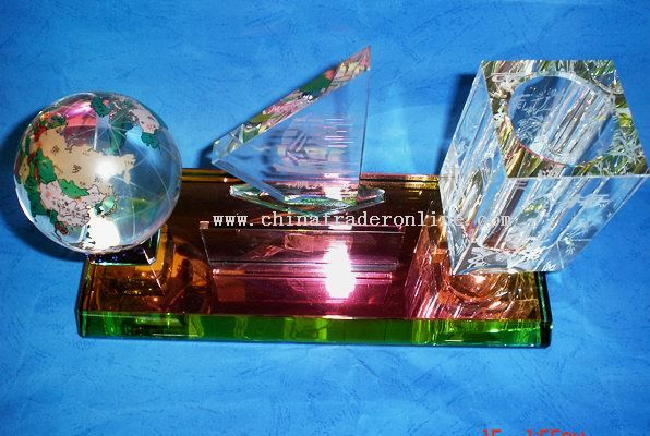 Crystal Pen Holder with earth