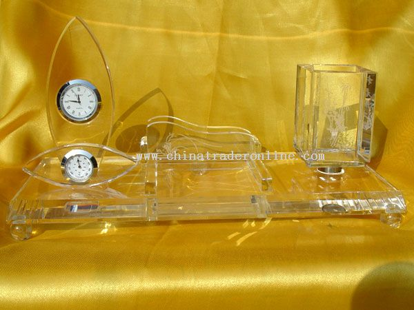 Crystal Pen and clock Office Supplies