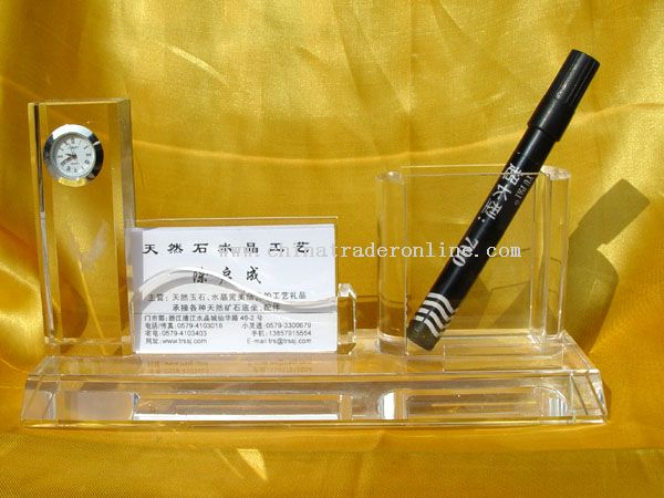 Crystal Pen and name card Holder Office Supplies