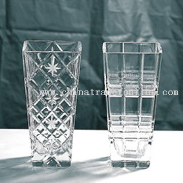 Glass Lead Crystal Vases with Cut Design
