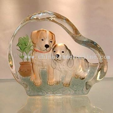 Tow Dogs 2D Mould Painted Crystal from China