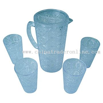 Crystal-Like Pot and Cups