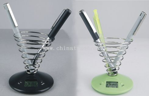 Novelty Screw Pen Holder with Time Display