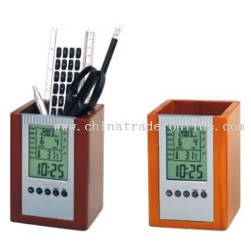 Wooden Pen Holders with Calendar Clock from China