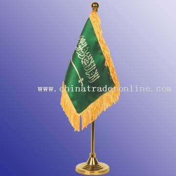 2-ply, 10 x 15 cm flag, rayon fringes 2.5 cm width Desktop Flag