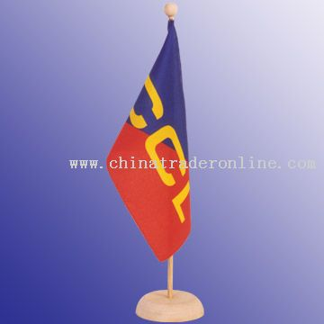 Desktop flag, 14 x 24 cm flag wooden pole and base, 37 cm height