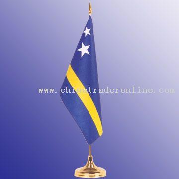 Desktop flagpole & base, Plastic, 36.5 cm X 7 cm, flag 10 x 15cm