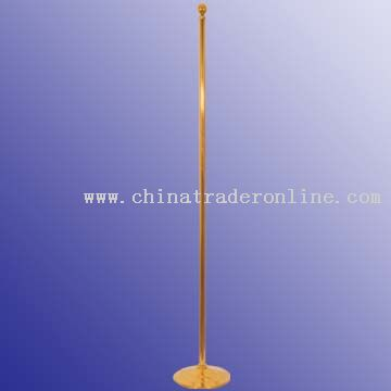 Office flag pole & base, stainless steel & titanium-gold plating