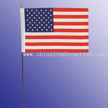 16 x 24inches nylon flag with black wooden pole and gold spear 900 x 12 mm