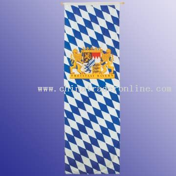 Hang flag 100 x 300 cm high quality knitted polyester with wooden pole, 2 balls, cord