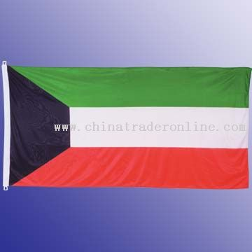 High quality knitted Polyester Flag with White Header and 2 ring cords from China