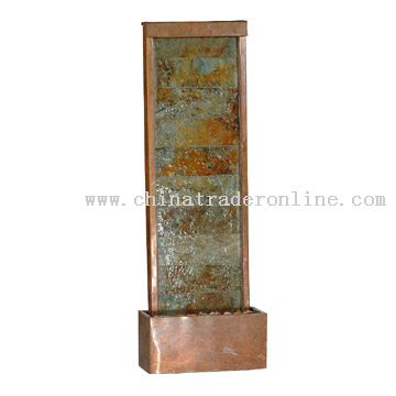 Copper Slate Waterfall Floor Fountain
