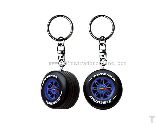 Wheel shape watch key ring