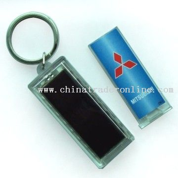 Solar powered blinking keychain from China