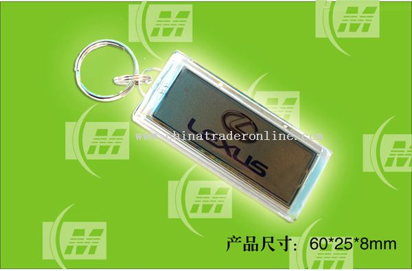 Waterproof Solar Powered Flashing LCD Keychains with Image Inside