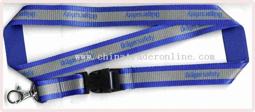 polyester glued with reflective band(flat style) lanyard