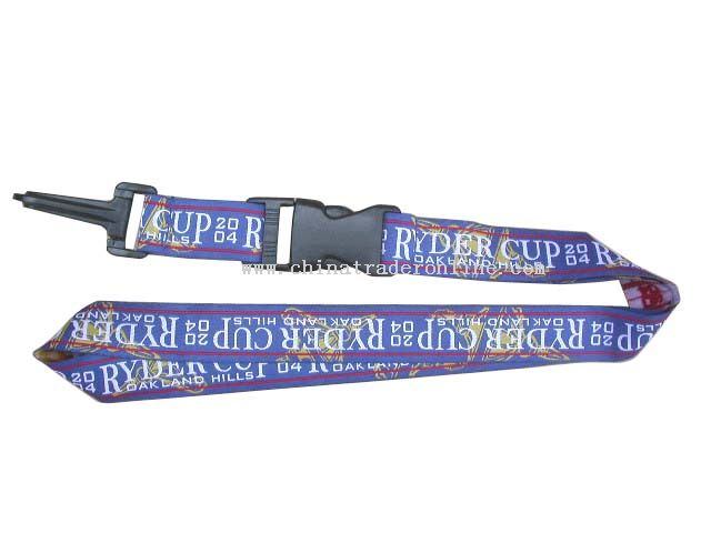 one side and four colour woven lanyard