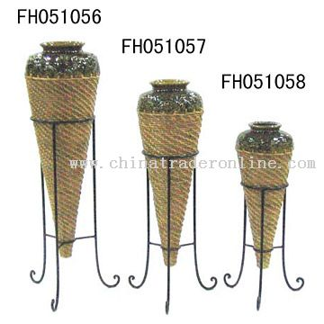 Iron, Rattan and Ceramic Vases