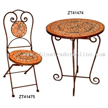 Terracotta Round Table & Chair
