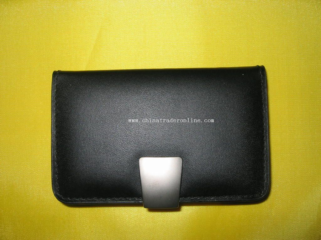 Black leather/synthetic leather card holder