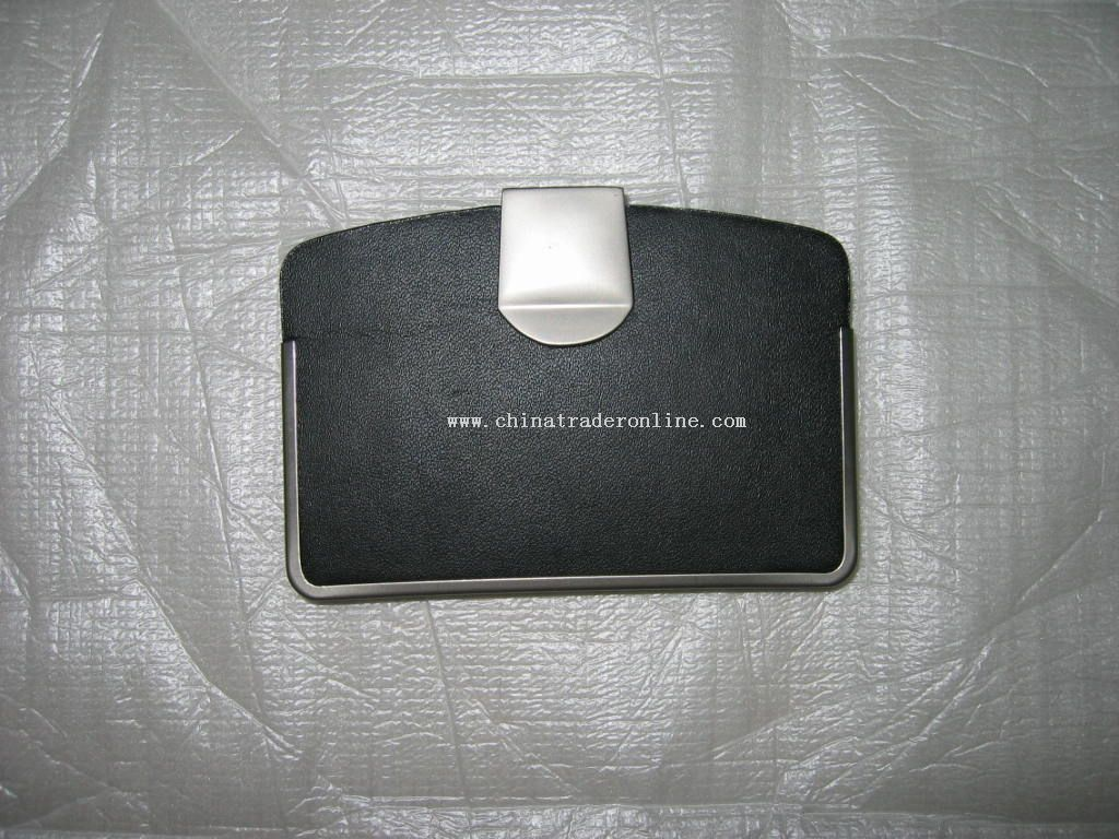 Card holder with metal clip and metal frame