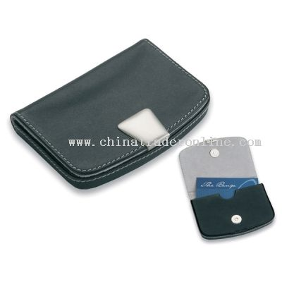 Business Card Holder in Nappa with modern white stitching