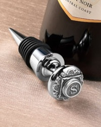Monogrammed Silver-Plated Bottle Stopper
