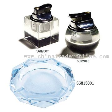 Crystal Lighters and Ashtray