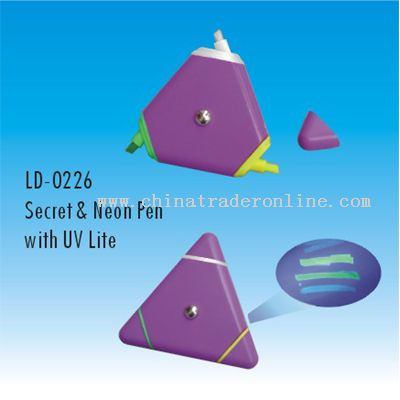 Triangle Shape Invisible ink pen with UV light