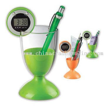 Cup Pen Holder with Clock