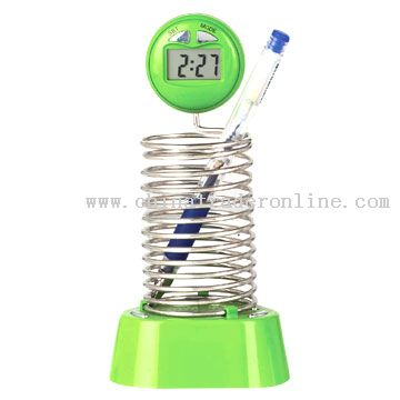Pen Holder with Digital Radio Clock