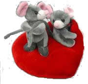 couple mouse on red heart