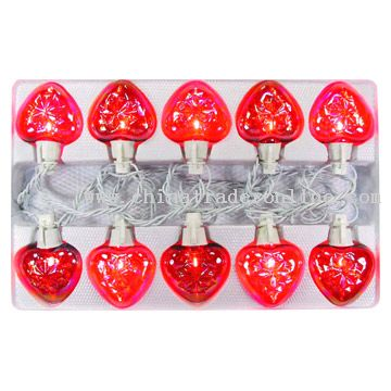 10L Glass Red/Pink Heart Valentine Twin Light