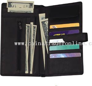 Black nappa soft leather travel wallet with multi-function pockets inside