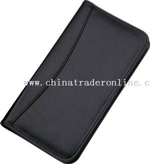 Leather or synthetic leather material card book with plastic binder