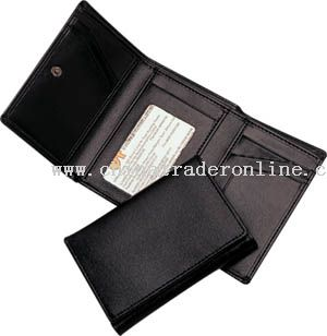 PU material three fold wallet with multi function pockets inside