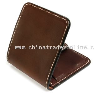 Thick real leather wallet with contrast stitching