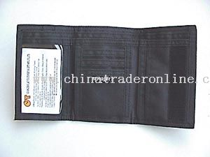Three fold micro fiber material wallet.