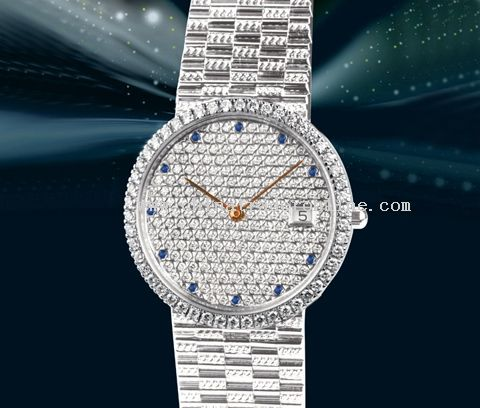 The 18k platina with diamond super slim wrist watch