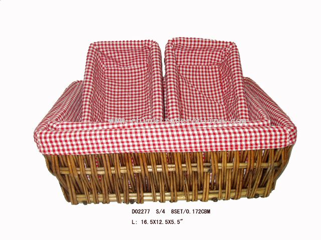 Rect willow basket s/4