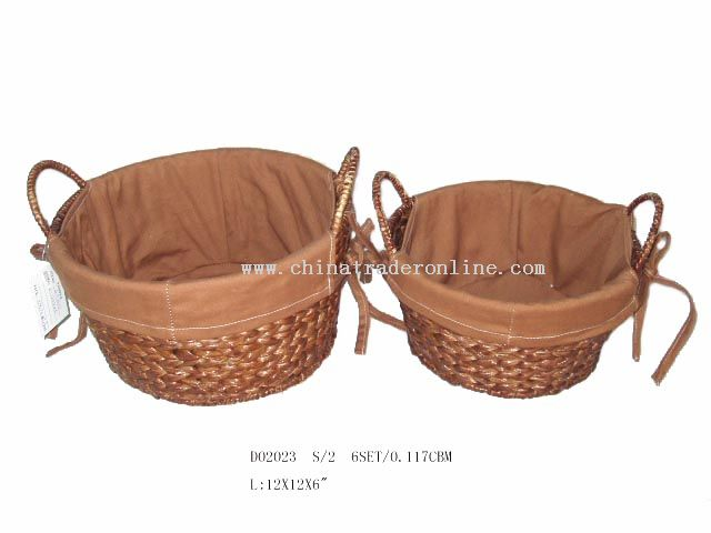 Round banana leaf basket s/2