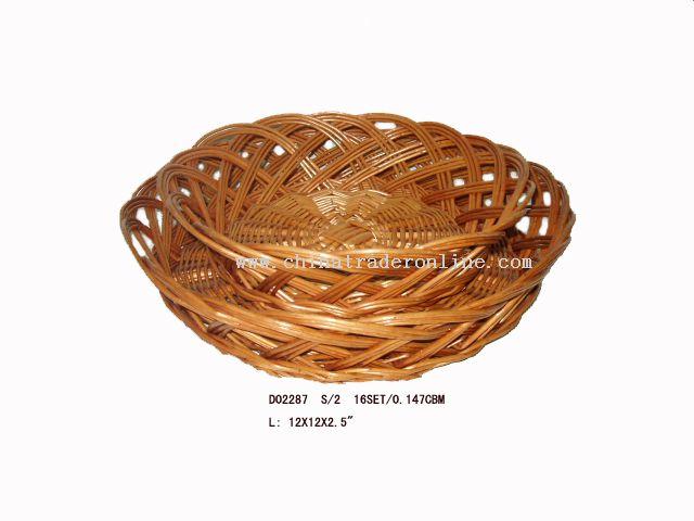 Round willow basket s/2