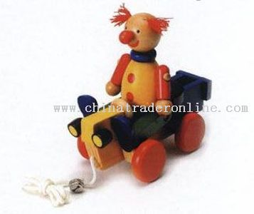 CLOWN ON ROLLING CART