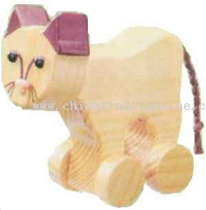 Wooden CAT ON ROLL Toys from China